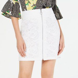 INC White Floral Mini Skirt with Front Zipper